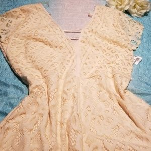 White Lace Cream Colored Womens Summer Romper